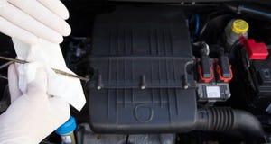 Mechanical controls engine oil viscosity Stock Image