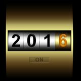 Mechanical counter 2016. Metal counter date new year 2016 Royalty Free Illustration