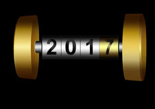 Mechanical counter 2017. Metal counter date new year 2017 Stock Image