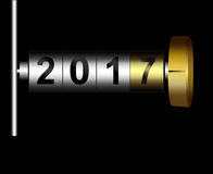 Mechanical counter 2017. Metal counter date new year 2017 Royalty Free Stock Images
