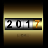 Mechanical counter 2017. Metal counter date new year 2017 Stock Photo
