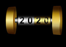 Mechanical counter 2020. Metal counter date new year 2020 Royalty Free Stock Photography