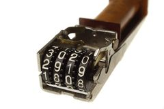 Mechanical counter. Closeup isolated white Royalty Free Stock Photo