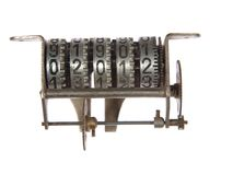 Mechanical counter mechanism with gears Stock Image