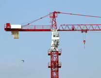 Mechanical crane. Red crane, used in construction, against blue sky Stock Photos