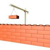 Mechanical crane building a wall. Made of bricks for a construction gamel, 3d render, isolated over white, square image Royalty Free Stock Images