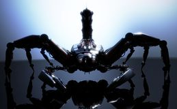 Mechanical dangerous scorpion concept posed an a reflective surface. Stock Images
