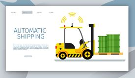 Mechanical Delivery Forklift Car Driving Tank. Signal Light Radar Working. Side View of Automatic Shipping Yellow Loader Lifting Green Barrel on Wooden Tray vector illustration