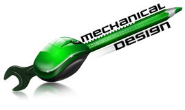 Mechanical design. Pencil and wrench fused with gear and mouse and written mechanical design Royalty Free Stock Photo