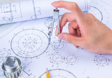 Mechanical Design Engineer in drawing Stock Photo