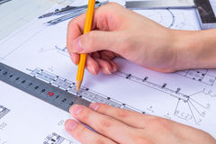 Mechanical Design Engineer in drawing Royalty Free Stock Photography