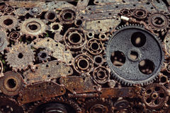 Mechanical design of gears welded welding machines idetaley. Rusty color Royalty Free Stock Image