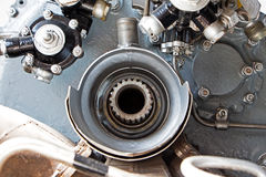 Mechanical details of the old turbine engine Stock Photo