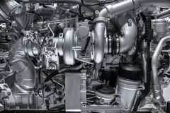 Mechanical diesel engine background. Close up of the mechanics of a large diesel engine royalty free stock images