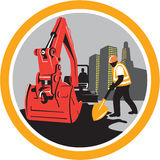 Mechanical Digger Construction Worker Circle Stock Images