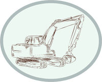 Mechanical Digger Excavator Oval Etching Royalty Free Stock Photography
