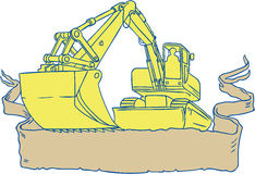 Mechanical Digger Excavator Ribbon Scroll Drawing. Drawing sketch style illustration of a mechanical digger excavator earthmover set on isolated white background Royalty Free Stock Photos