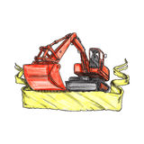 Mechanical Digger Excavator Ribbon Tattoo. Tattoo style illustration of a mechanical digger excavator earthmover Stock Image