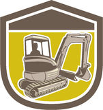 Mechanical Digger Excavator Shield Retro Royalty Free Stock Images