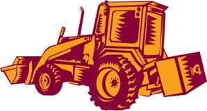 Mechanical Digger Excavator Woodcut Stock Image