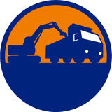 Mechanical Digger Loading Dump Truck Circle Retro. Illustration of a mechanical digger excavator earthmover loading a dump truck viewed from low angle set inside Stock Photos