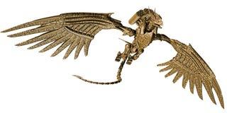Mechanical dragon. 3D render of a golden mechanical dragon royalty free illustration