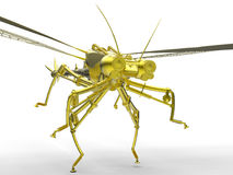 Mechanical dragon fly concept. 3D render illustration of a mechanical dragon fly. The object is isolated on a white background with shadows Royalty Free Stock Photos
