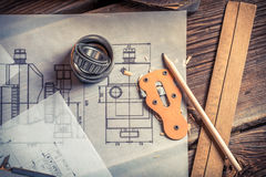 Mechanical drawing is created from the bearing Royalty Free Stock Images