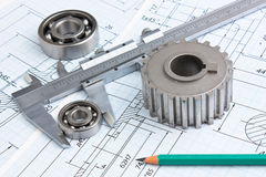 Mechanical drawing and pinion. Technical drawing and pinion with bearings Stock Photography