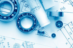 Mechanical drawing and tools stock photos