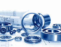 Mechanical drawing and tools Royalty Free Stock Images