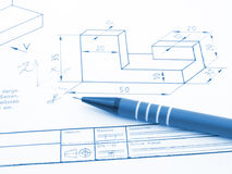 Mechanical drawings. And tools of the trade Stock Image