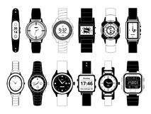 Mechanical and electronic sport hand watches in monochrome style. Vector pictures set isolate on white Stock Photo