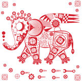 Mechanical elephant. Abstract figure of an elephant with geometric patterns and threads vector illustration