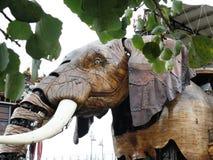 Mechanical elephant in wood. Royalty Free Stock Image