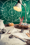 Mechanical engineer desk at the university Stock Images
