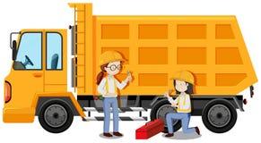 Mechanical Engineer Fixing a Truck. Illustration vector illustration