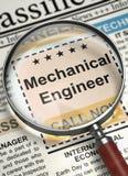 Mechanical Engineer Hiring Now. 3D. Mechanical Engineer - Job Vacancy in Newspaper. Mechanical Engineer - Close View Of A Classifieds Through Magnifier. Job Stock Photos