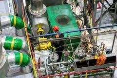 Mechanical engineer rotates control valve and adjusting compressor system Stock Images