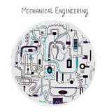 Mechanical engineering abstract background for the card. Illustration, handdrawn sketchy style royalty free illustration