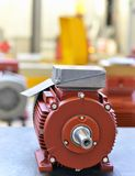 Mechanical engineering: closeup of electric motors in production. In a modern factory royalty free stock photography