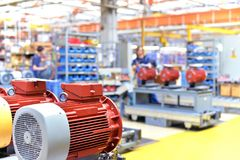Mechanical engineering: closeup of electric motors in production. In a modern factory stock images