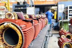 Mechanical engineering: closeup of electric motors in production. In a modern factory stock photos