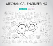 Mechanical Engineering concept with Doodle design style. Physics solution, re-engineering, parts design.Modern style illustration for web banners, brochure and Royalty Free Stock Images