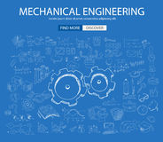 Mechanical Engineering concept with Doodle design style Stock Photos