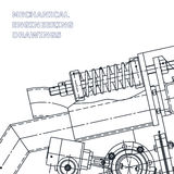 Mechanical engineering the drawing. Technical illustration. S. The drawing for technical design. A cover, a banner. A place for the text royalty free illustration