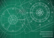 Mechanical engineering drawings. Background for inscription. Vector. White and green royalty free illustration