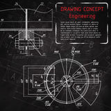 Mechanical engineering drawings on blackboard Royalty Free Stock Photo