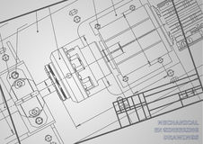 Mechanical engineering drawings. On a gray background. Vector. Background for inscription labels. Frame. Corporate Identity royalty free illustration