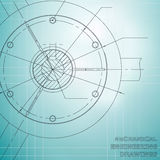 Mechanical engineering drawings. Engineering illustration. Blue. Grid royalty free illustration